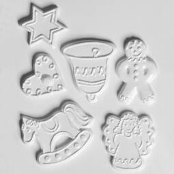 Hobbyművész öntőforma - karácsonyi mézeskalács figurák, 6 db