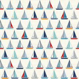 Patchwork anyag - Makower - Sail Away 2210-Q Yachts cream