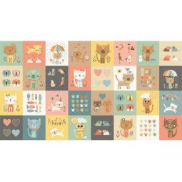 Patchwork anyag - Makower - Cool Cats 2186/-1 Panel, 30cm