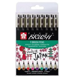 Sakura Pigma Brush ecsetfilc készlet, 9 db