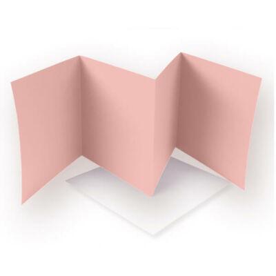 Leporelló kártya - rózsaszín, 13,5x13,5 cm, 4 lapos