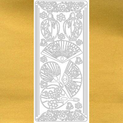 Kontúrmatrica - japán legyezők, arany, 0381  - AKCIÓS