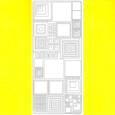 Kontúrmatrica - retró négyzetek, sárga, 0496  - AKCIÓS