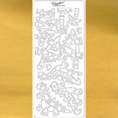 Kontúrmatrica - dínók, arany, 0861  - AKCIÓS