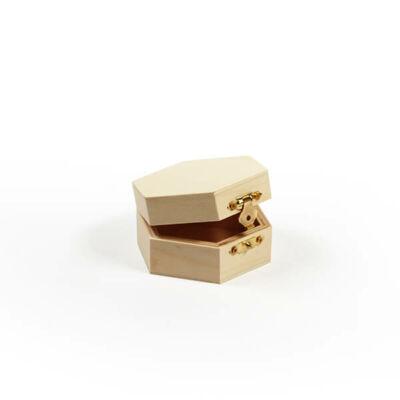 Fa doboz - hatszögletű, 9x8x4,3 cm