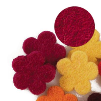 Filc forma, lapos - virág, bordo, darabra