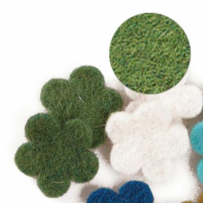 Filc forma, lapos - virág, zöld, darabra
