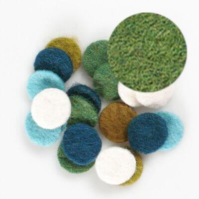 Filc forma, lapos - kör, zöld, darabra