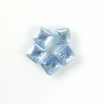 Üveggyöngy Yingli - négyzet, világoskék, 5 db