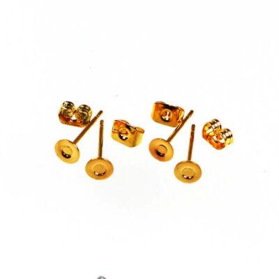 Fülbevaló alap, bedugós - aranyszínű, 4 mm, 2 pár