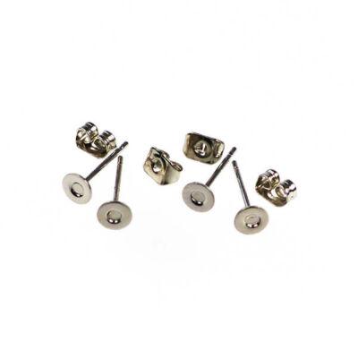 Fülbevaló alap, bedugós - ródium, 4 mm, 2 pár