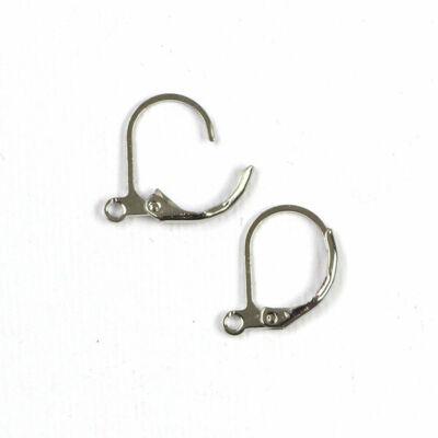 Fülbevaló alap, bekapcsolható - ródium, francia, 15 mm