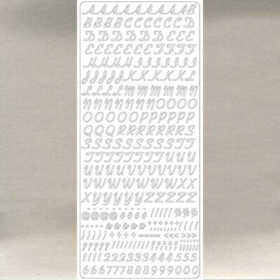 Kontúrmatrica - dőlt betűk, számok és írásjelek, ezüst, 1860