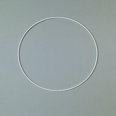 Fém alapkarika, fehér, álomfogó - 18 cm