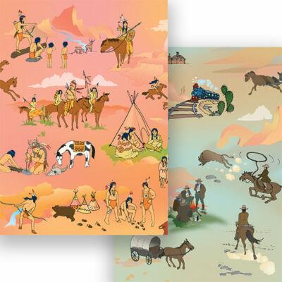 Fotókarton, A4 - indiánok-cowboyok