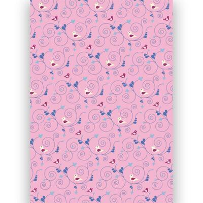 Transzparens papír, A4 - Madaras, indás, rózsaszín