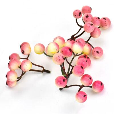 Művirág, három ágas bogyó,  6 cm - rózsaszín