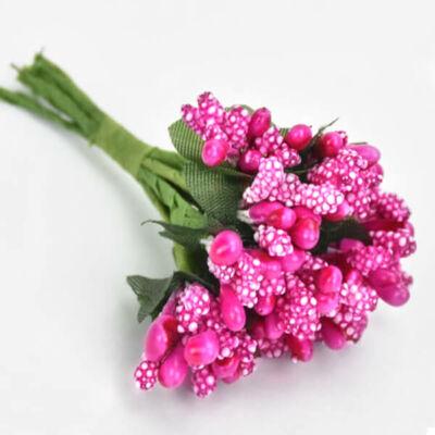 Művirág,  bogyós mini csokor - magenta