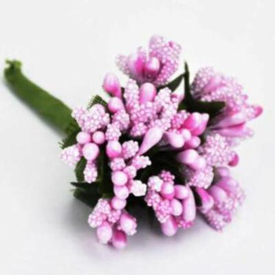 Művirág,  bogyós mini csokor - rózsaszín