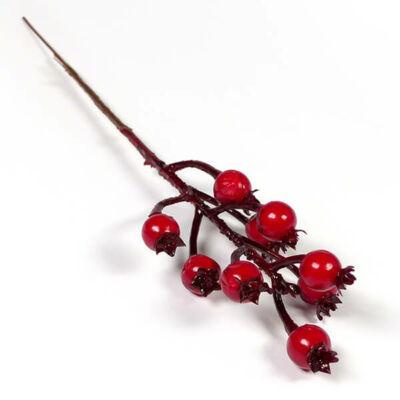 Művirág, bogyós ág,  30 cm - piros csipkebogyó