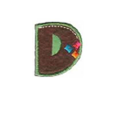 Textil betű, vasalható - D, színes