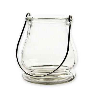 Üveg viharlámpa akasztóval - 9x9,5 cm