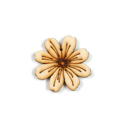 Fafigura, akasztható, lézerrel mintázott - Pillangó virág, kicsi