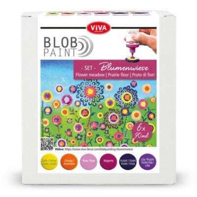 Pöttyöző festék készlet, Blob paint, 6x90 ml - Virágos rét
