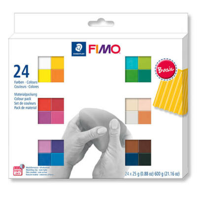FIMO Soft Colour Pack süthető gyurma készlet, 24x25 g - Basic Colours