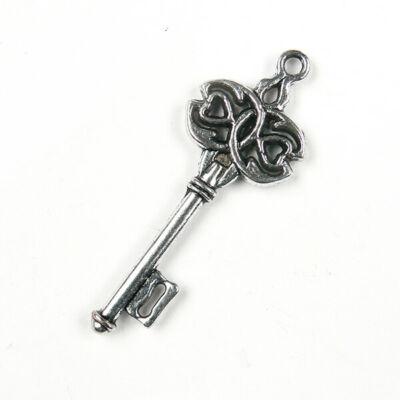 Charm, fémdísz - kulcs, dupla szíves