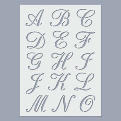 Stencil, 15x20 cm, 2 ív/csomag - ABC Calligraphy, 30 mm