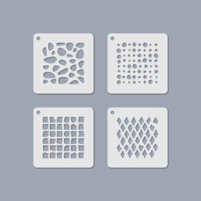 Stencilkészlet, ékszerstencil, 6,5x6,5 cm, 4 féle - Mértani