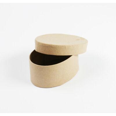Papírmasé doboz, ovális - 8,5x6x4 cm, kis doboz