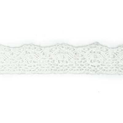Csipkeszalag - 20 mm széles, fehér, szélcsipke méterben