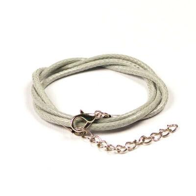 Bőrimitáció nyaklánc szerelékkel, 2 mm - ezüstszürke