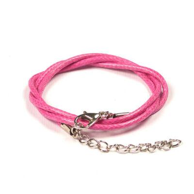 Bőrimitáció nyaklánc szerelékkel, 2 mm - pink