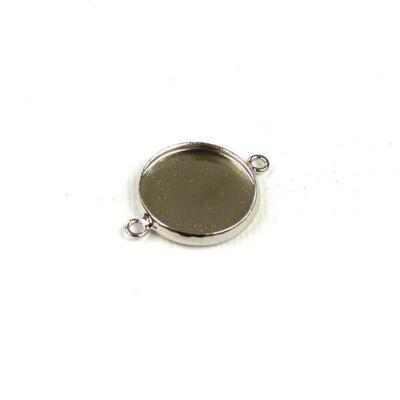 Láncszemalap, kerek, sima - 1,4 cm, ródium