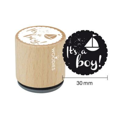 Pecsételő, Woodies, 3 cm - It's a boy