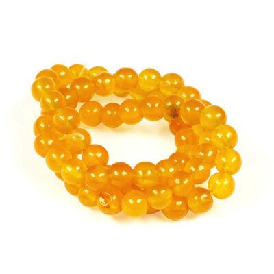 Ásványgyöngy - Kalcedon, sárga, festett, 6 mm, 1 szál