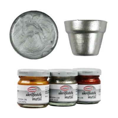 Hobbyművész akrilfesték, 40 ml - metál, 134, ezüst