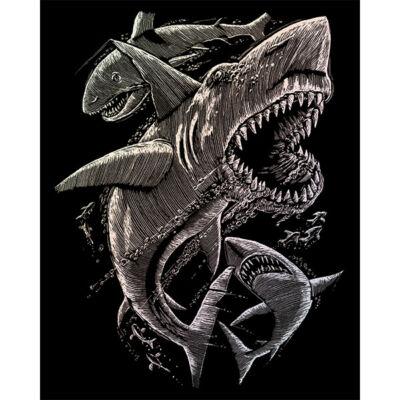 Karckép gravírozó készlet karctűvel, 20x25 cm - Cápák, holográf