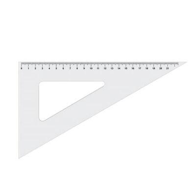 ICO műanyag vonalzó, háromszög, átlátszó, 21 cm