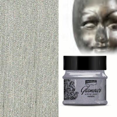 Glamour metál akrilfesték, 50 ml - ezüstfekete