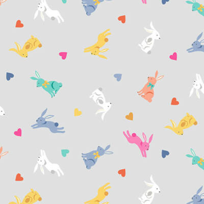 Patchwork anyag - Makower - Spring 2189-S Rabbits grey
