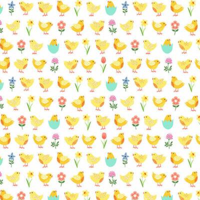 Patchwork anyag - Makower - Spring 2191-Q Chicks cream