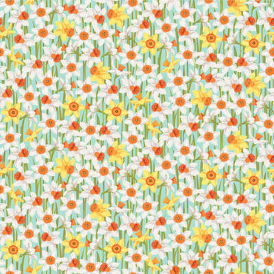 Patchwork anyag - Makower - Spring 2192-T Daffodils turquoise