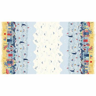 Patchwork anyag - Makower - Sail Away 2214-1 Double border Panel, 60cm