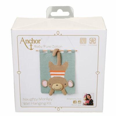 Horgolókészlet, Anchor Baby Pure Cotton 3D falikép - Csintalan majom