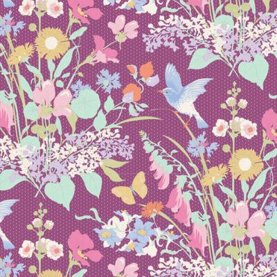 Patchwork anyag - Tilda Gardenlife - Plum 100310