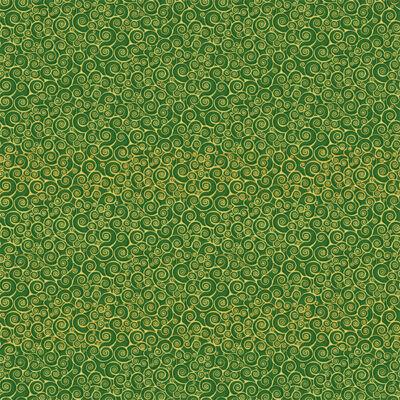 Patchwork anyag - Makower - Christmas 21 Classic Foliage 2182-G5 Rhapsody scroll green